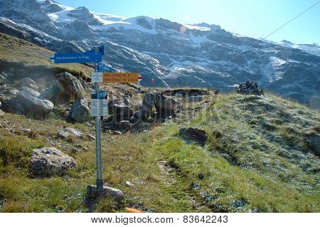 Signs On Trail Nearby Grindelwald In Switzerland.