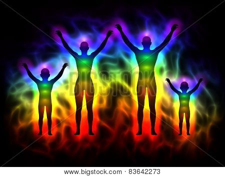 Family - rainbow silhouette with aura and chakras