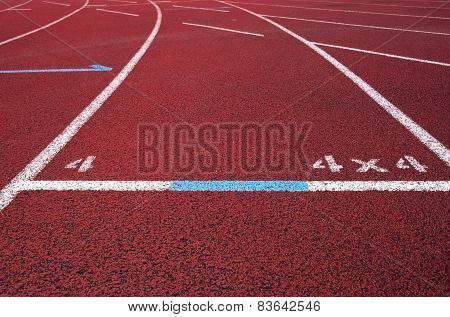 Red running field track