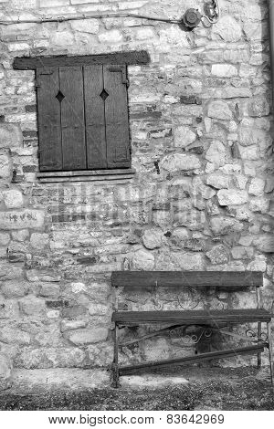 Oltrepo old village detail. Black and white photo