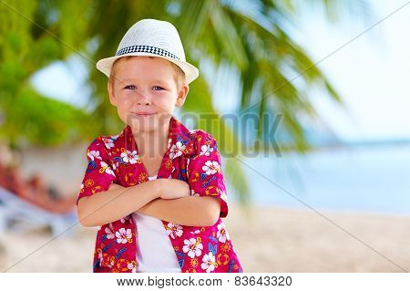 Cute Stylish Boy On The Beach