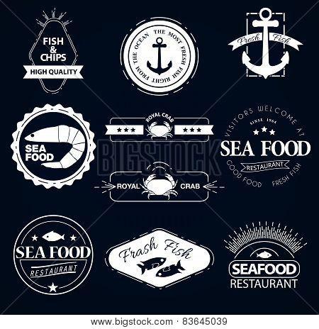 Seafood restaurant vintage logos set