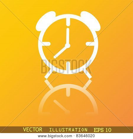 Alarm Clock Icon Symbol Flat Modern Web Design With Reflection And Space For Your Text. Vector
