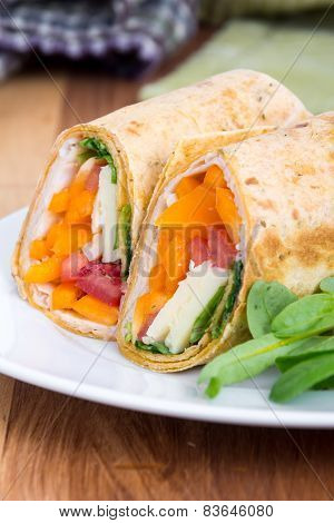 Sandwich wrap portion on plate