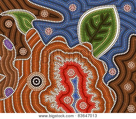 An Illustration Based On Aboriginal Style Of Dot Painting Depicting Bush Fires
