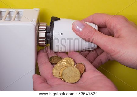 Radiator Thermostat, Coins And Hand - Yellow