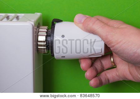 Radiator Thermostat And Hand - Green