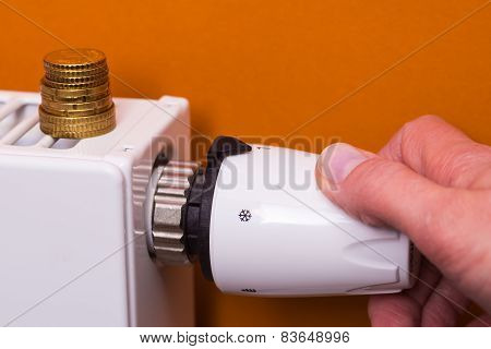 Radiator Thermostat, Coins And Hand - Brown