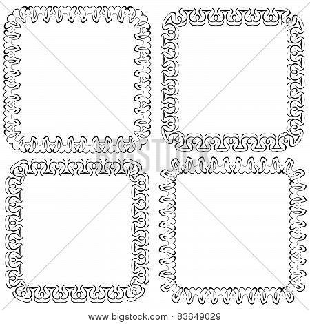 Set of Black Openwork Square Vector Frames For Design