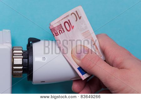 Radiator Thermostat, Banknote And Hand - Blue