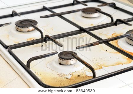 Dirty Gas Stove Burner