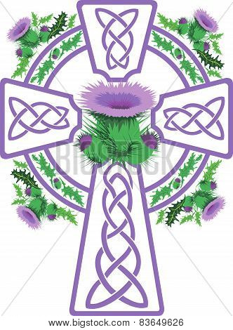 Stylized Purple Celtic Cross Framed Thistle Flowers