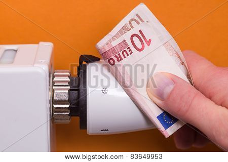 Radiator Thermostat, Banknote And Hand - Brown