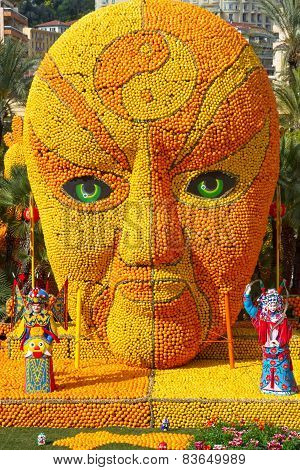 MENTON, FRANCE - FEBRUARY 20: 82th Lemon Festival (Fete du Citron) in Menton on French Riviera. Ment