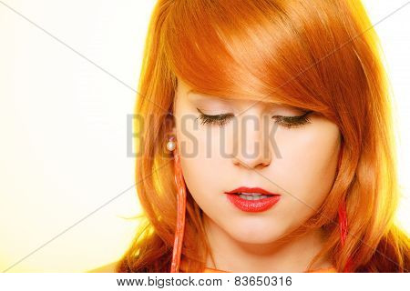 Redhair Girl Portrait Wearing Sweet Jelly Candy Earrings