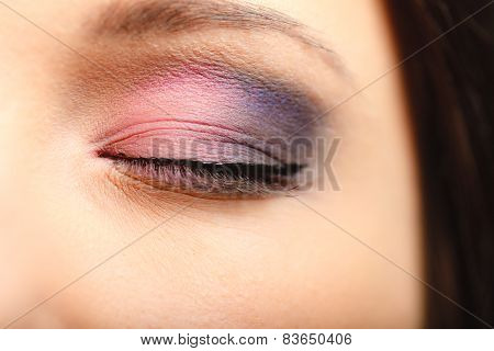 Part Of Woman Face Eye With Eyeshadow Makeup Detail.