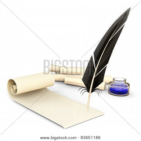 old-fashioned feather with ink and blank scrolls