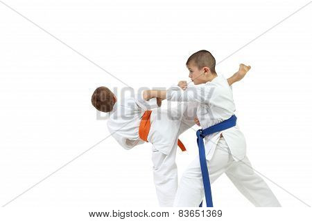 On a white background boys make karate exercises paired
