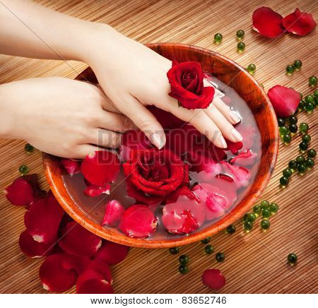 Female Hands In Bowl Of Water With Red Roses