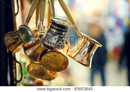 Traditional copper Coffee pots shot in Grand Bazaar Istanbul Turkey