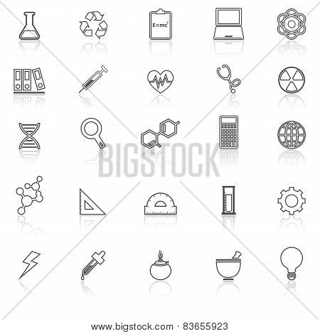 Science Line Icons With Reflect On White Background