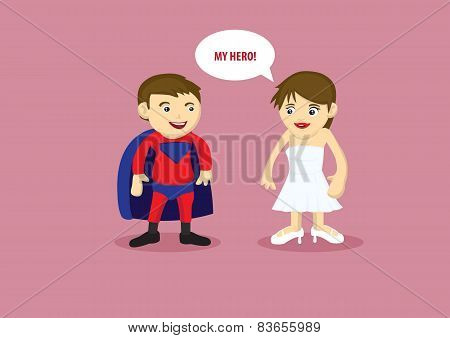 Hero And Damsel Vector Cartoon Illustration