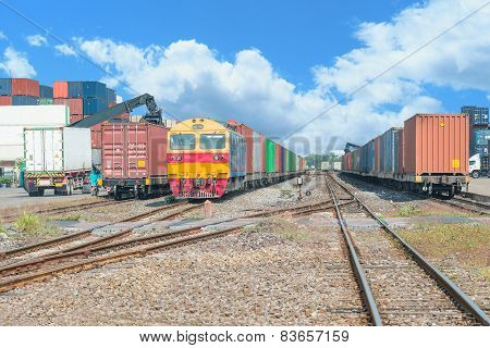 Freight Trains On Cargo Terminal At Dock