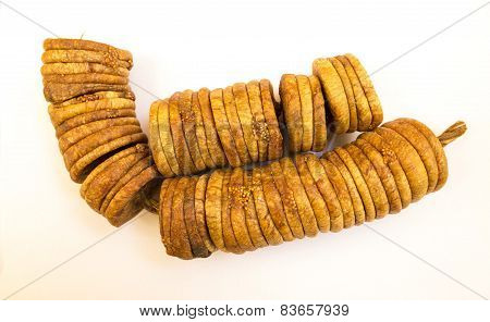 closeup view of dried Iran Figs a plain background