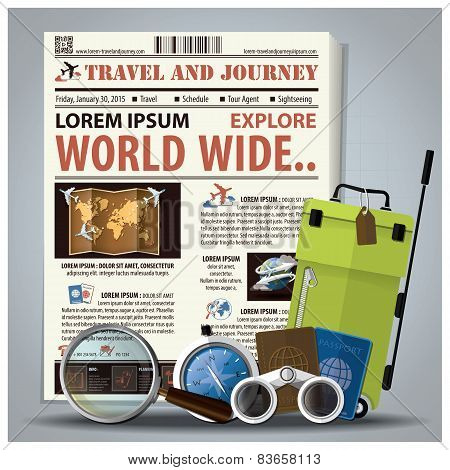 Travel And Journey Newspaper Lay Out With Magnifying Glass, Binocular, Compass, Passport, Baggage