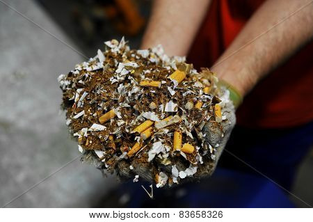 Destroyed Counterfeited Cigarettes