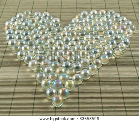 Heart shape of transparent balls