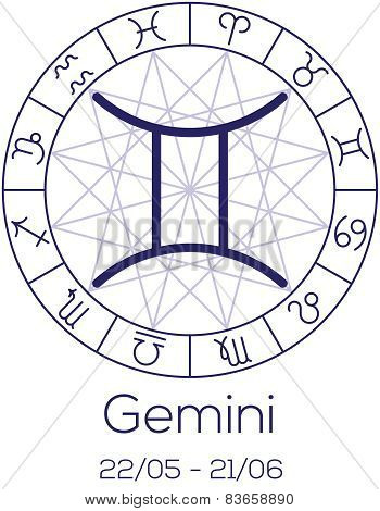 Zodiac Sign - Gemini. Astrological Symbol In Wheel With Polygonal Background.