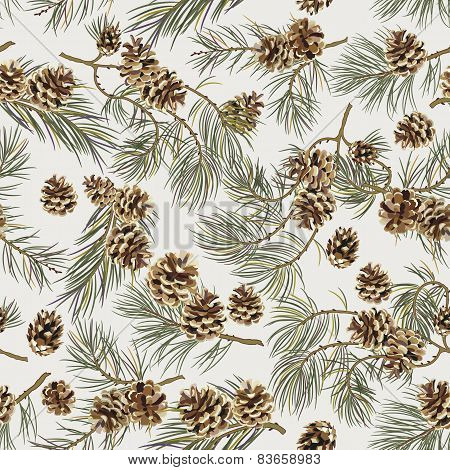 Seamless pattern with pine cones.