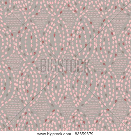 Seamless pattern with abstract leaves, raindrops in a retro style.