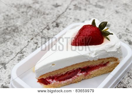 Strawberry Cheese Cake With Cream On Top