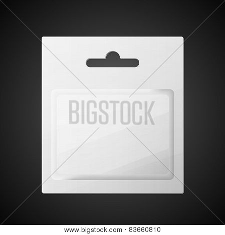 Plastic Transparent Blister With Hang Slot, Product Package. Illustration Isolated On Black Backgrou