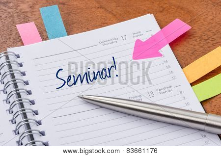 A daily planner with the entry Seminar
