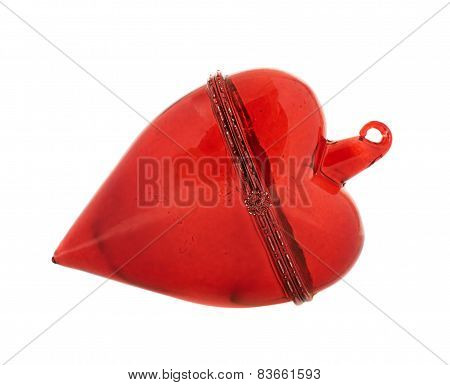 Glass red heart decoration figure