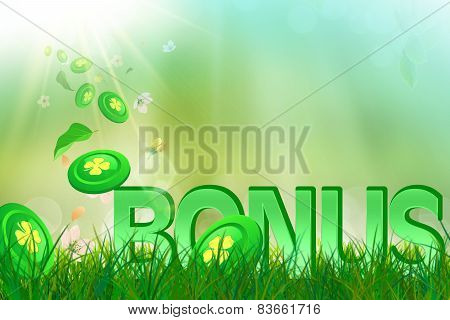 Summer bonus in  green and fresh grass and casino chips
