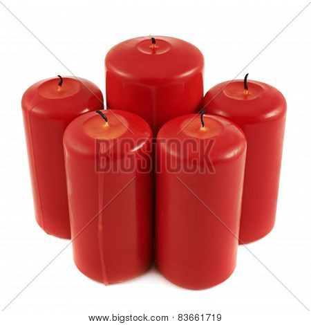 Five red candle composition isolated