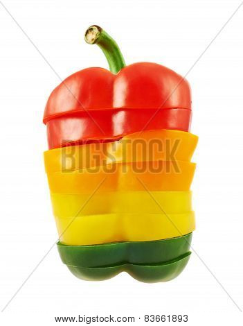 Sliced sweet bell pepper isolated