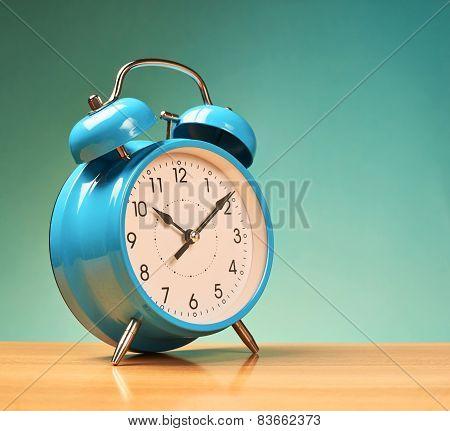 Blue alarm clock
