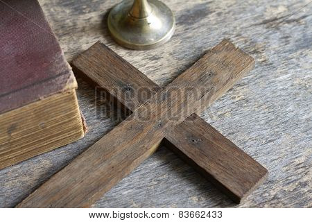 Cross and bible abstract religion concept