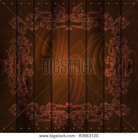 Floral Frame On Wood Background