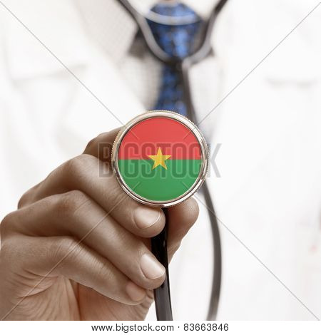 Stethoscope With National Flag Conceptual Series - Burkina Faso