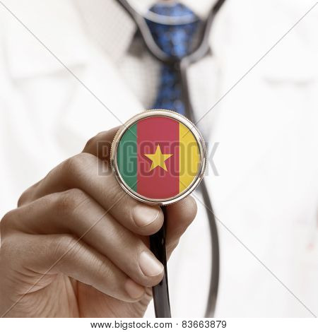 Stethoscope With National Flag Conceptual Series - Cameroon