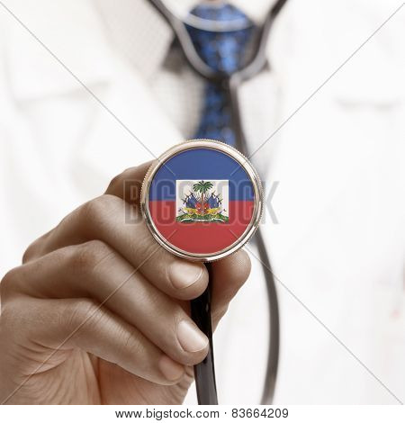 Stethoscope With National Flag Conceptual Series - Haiti