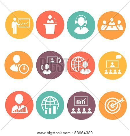 Business people meeting online and offline strategic icons set isolated vector