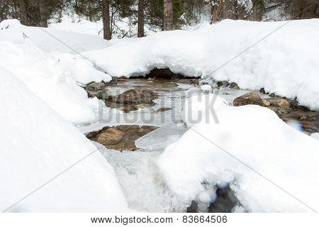 Snow Mountine River - Stock Photo