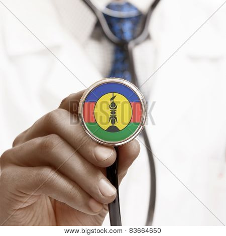 Stethoscope With National Flag Conceptual Series - New Caledonia